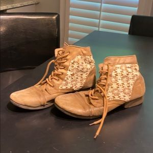 Tan Ankle Booties with Lace Detailing